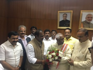 Met Union Minister Mr. Ananthakumar and Mr. Bandaru Dattatreya, Minister for Labor along with Mr. Satish reddy MLA